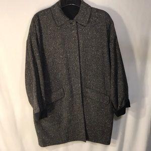 Reversible Tweed & Black Boxy Vintage Coat